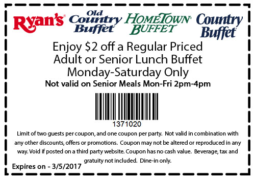Ryan's coupon 2018