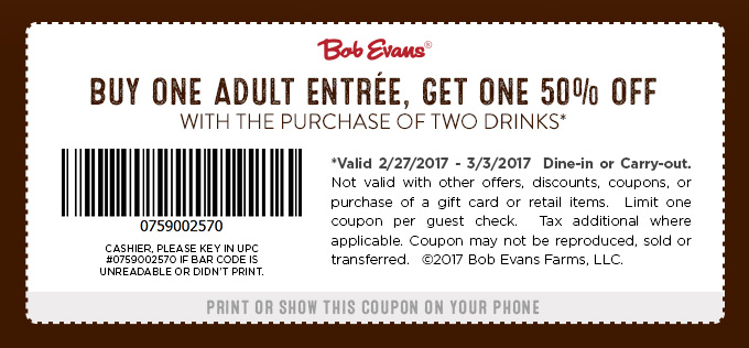 Bob Evans Coupon December 2018 Second entree 50% off at Bob Evans