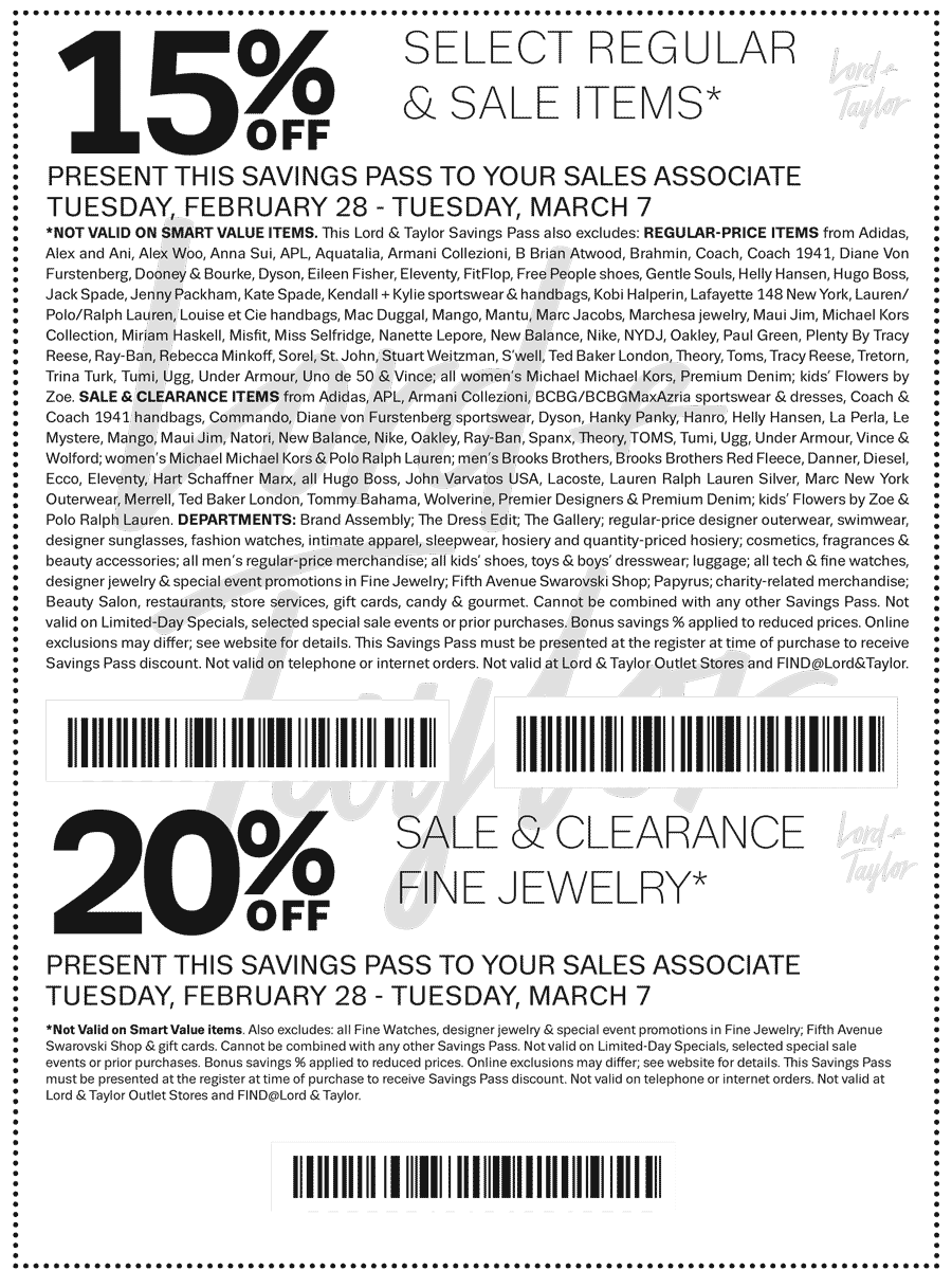 Lord & Taylor Coupon December 2018 Extra 15% off & more at Lord & Taylor, or online via promo code STYLE