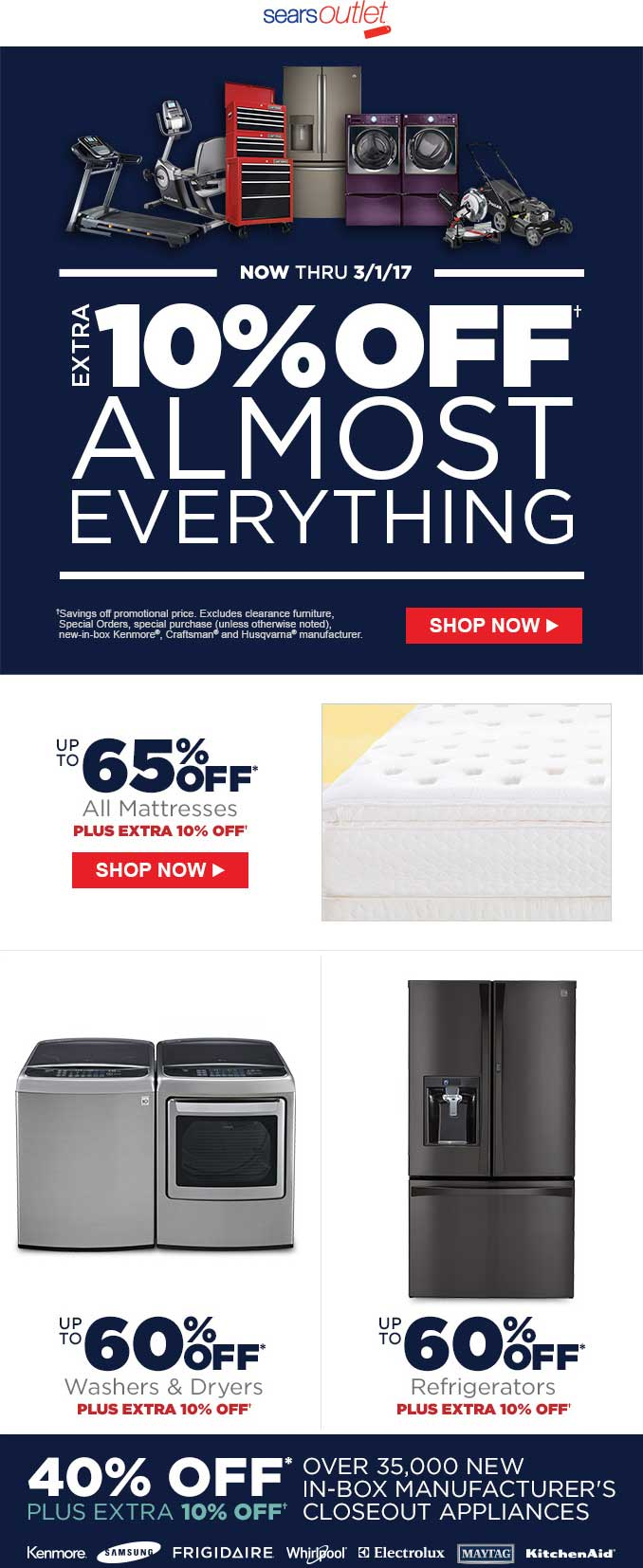 SearsOutlet.com Promo Coupon Extra 10% off at Sears Outlet