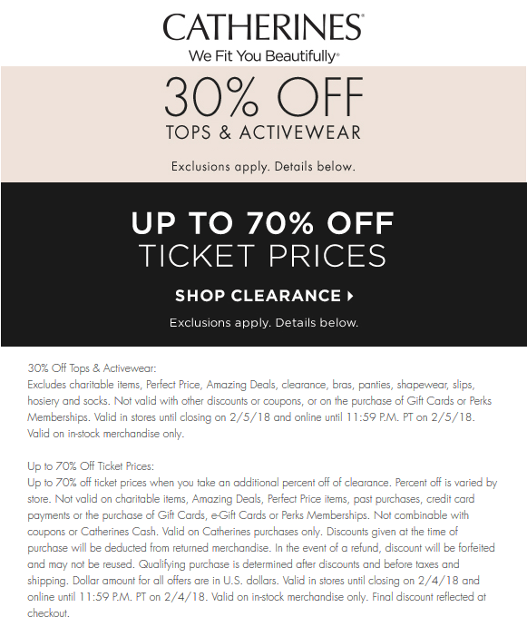 Catherines Coupon October 2018 30% off tops & active at Catherines, ditto online