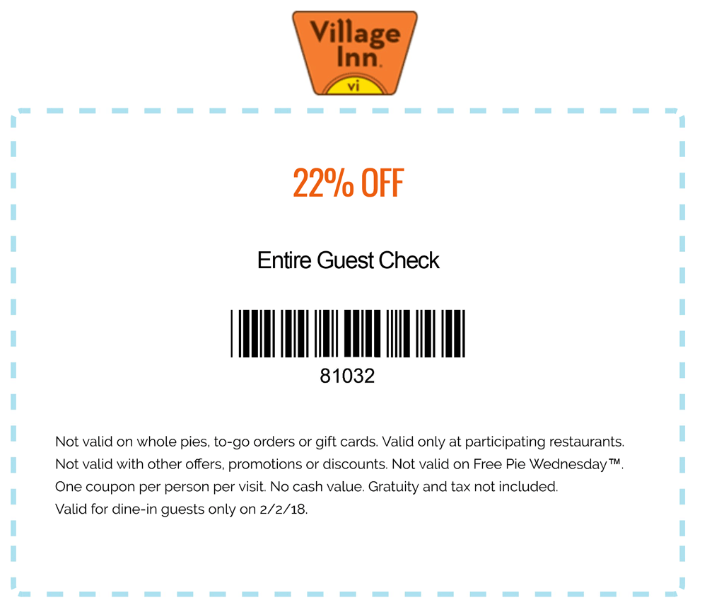 VillageInn.com Promo Coupon 22% off today at Village Inn restaurants
