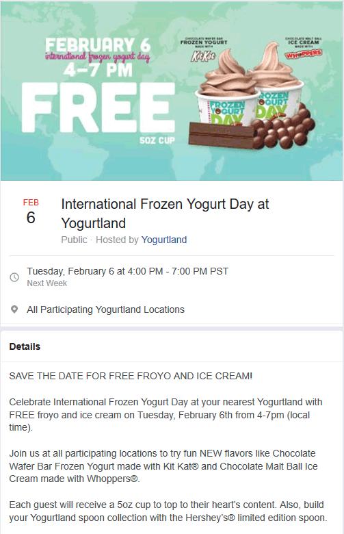 Yogurtland Coupon August 2019 Free frozen yogurt Tuesday 4-7p at Yogurtland