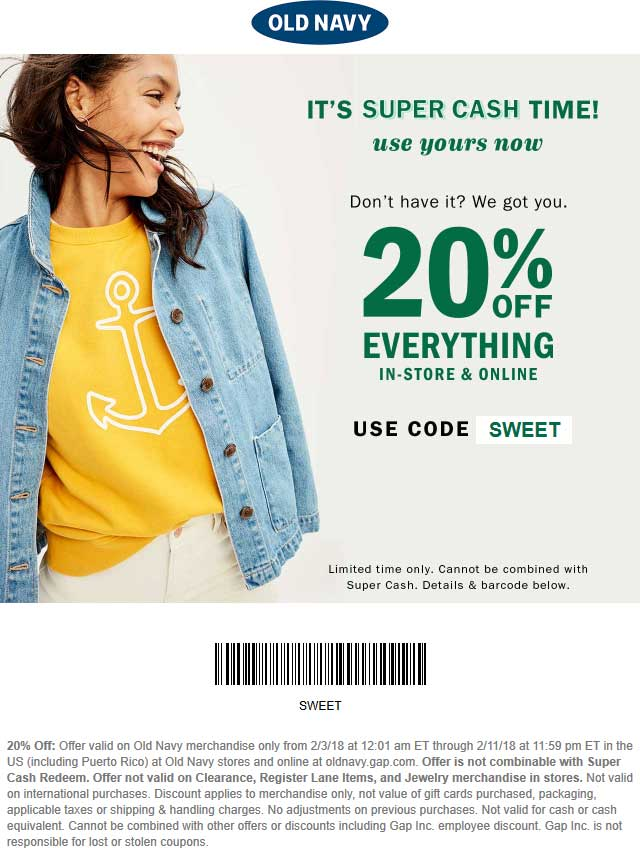 Old Navy Coupon June 2018 20% off at Old Navy, or online via promo code SWEET