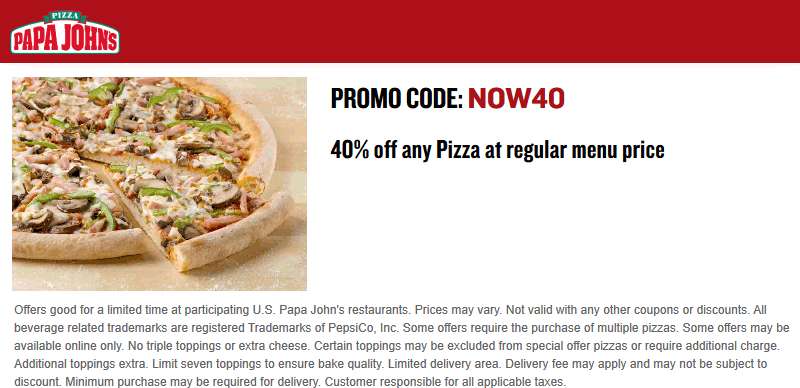 Papa Johns Coupon December 2018 40% off or second pizza free at Papa Johns via promo code NOW40 or BOGO18