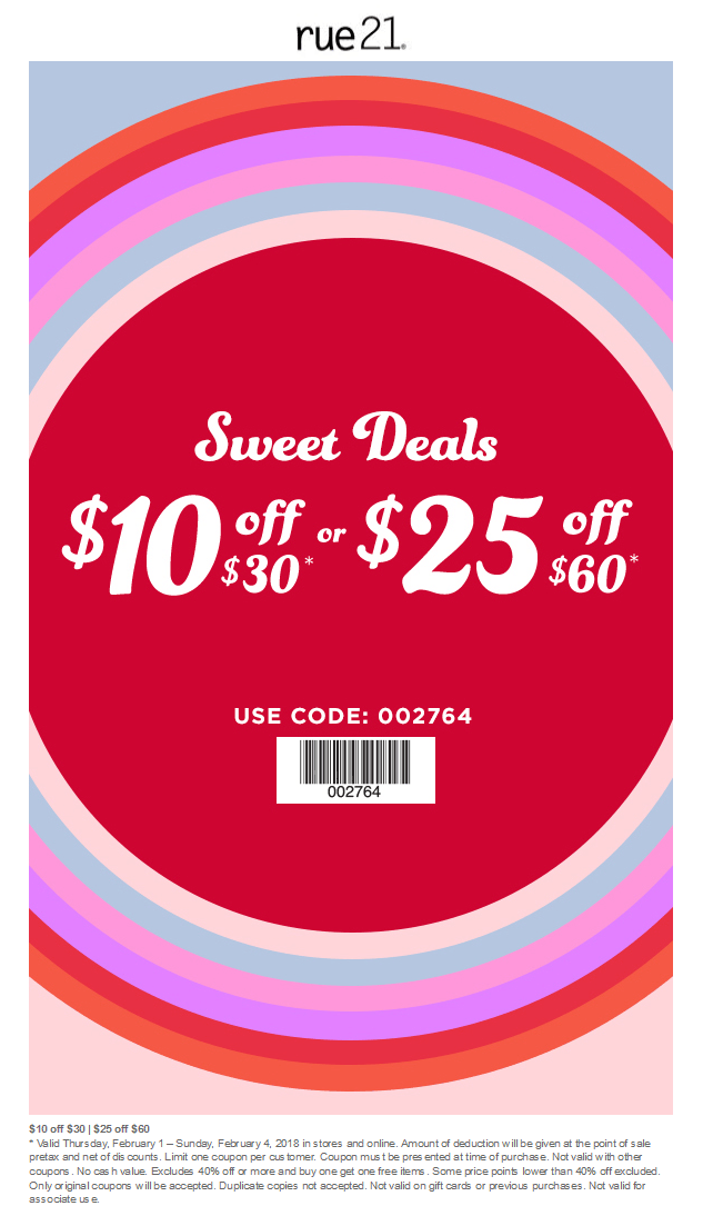 Rue21 Coupon December 2018 $10 off $30 & more at rue21, or online via promo code 002764