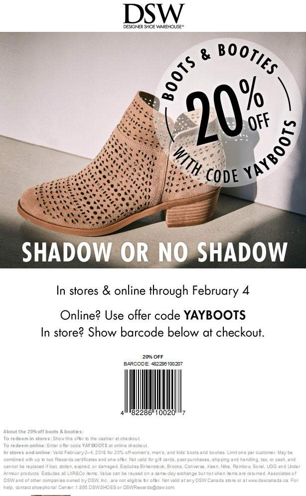 DSW Coupon August 2018 20% off boots today at DSW Shoes, or online via promo code YAYBOOTS
