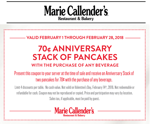 Marie Callenders Coupon November 2018 .70 cent pancakes with your drink all month at Marie Callenders restaurant