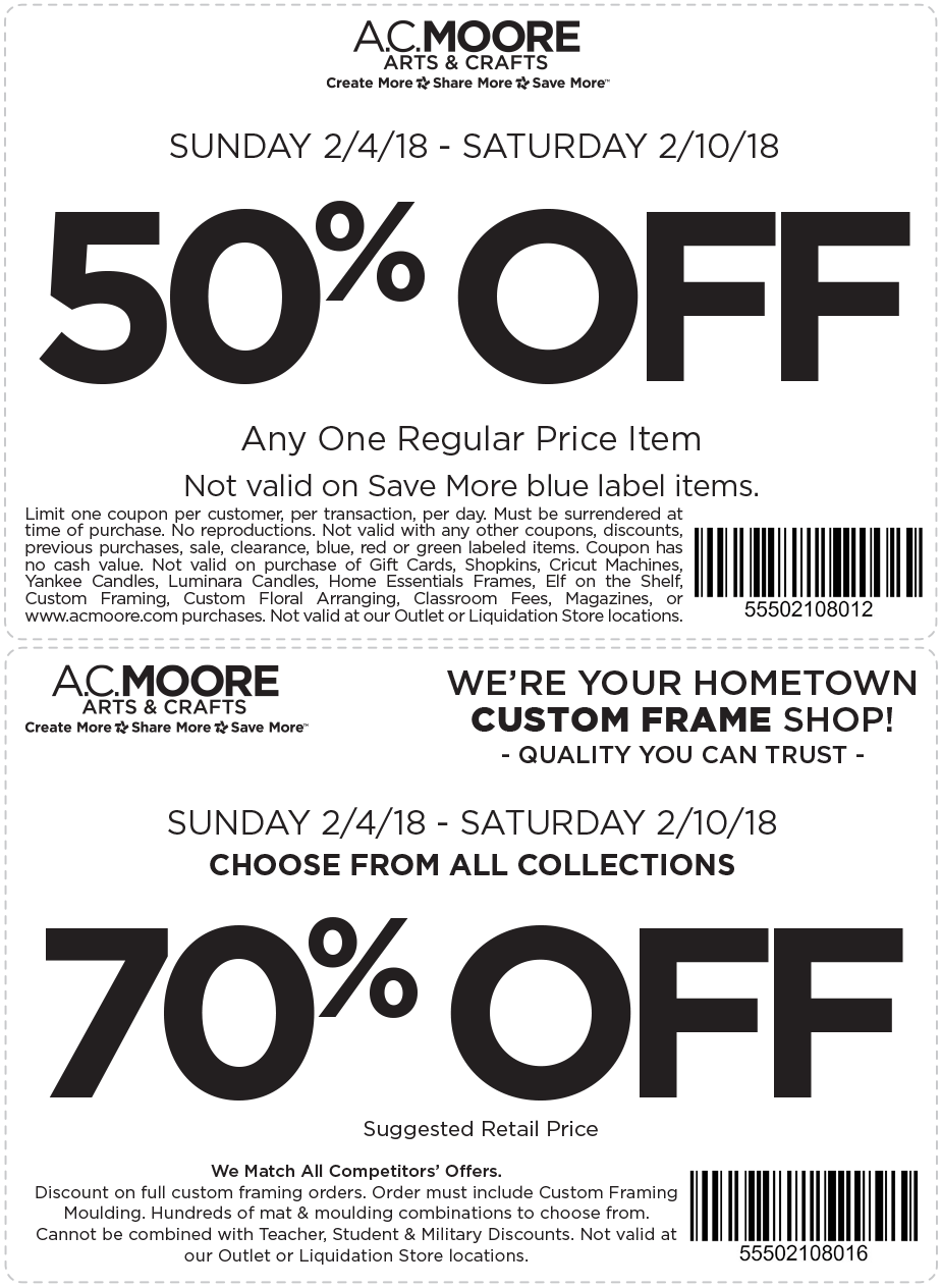 A.C. Moore Coupon August 2018 50% off a single item at A.C. Moore