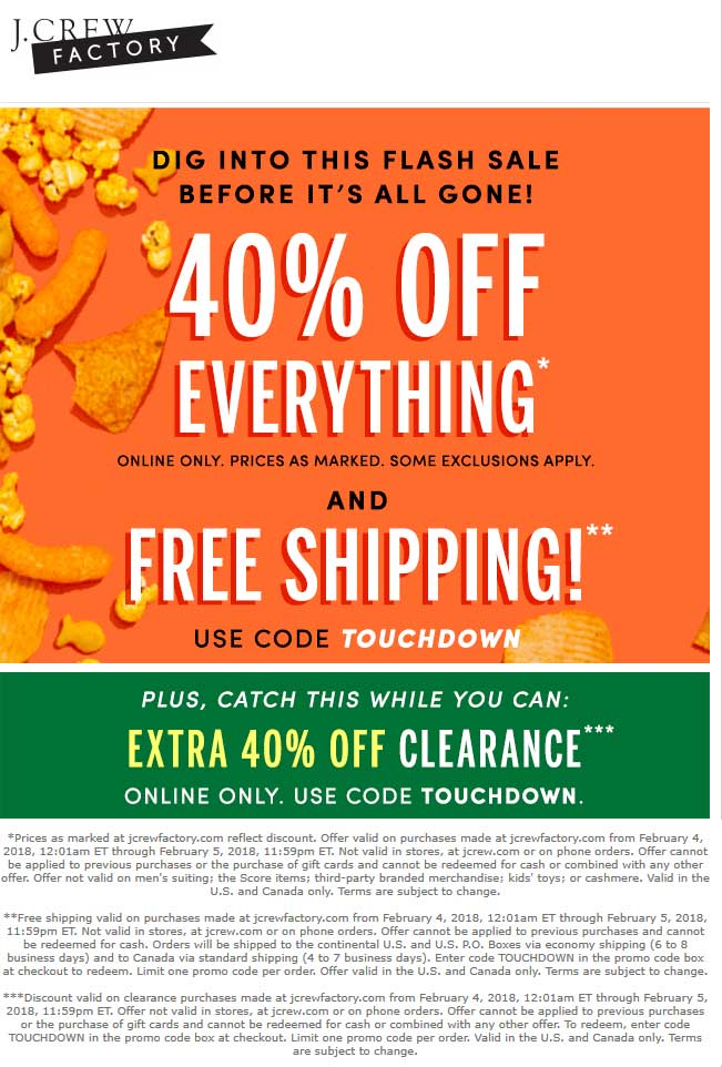 J.Crew Factory Coupon December 2018 40% off everything online today at J.Crew Factory via promo code TOUCHDOWN