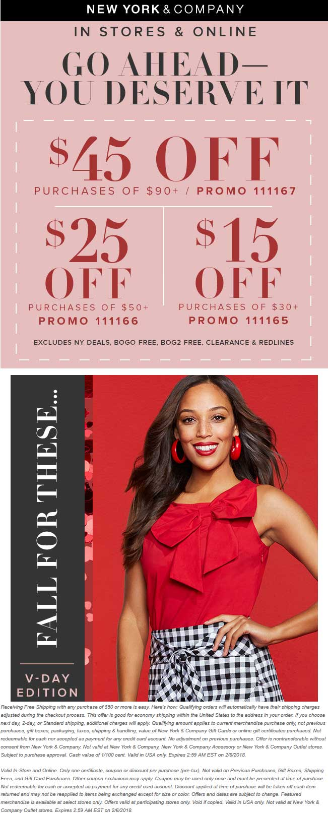 New York & Company Coupon March 2019 $15 off $30 & more today at New York & Company, or online via promo code 111165