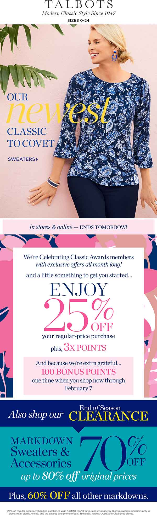 Talbots Coupon October 2018 25% off at Talbots, ditto online