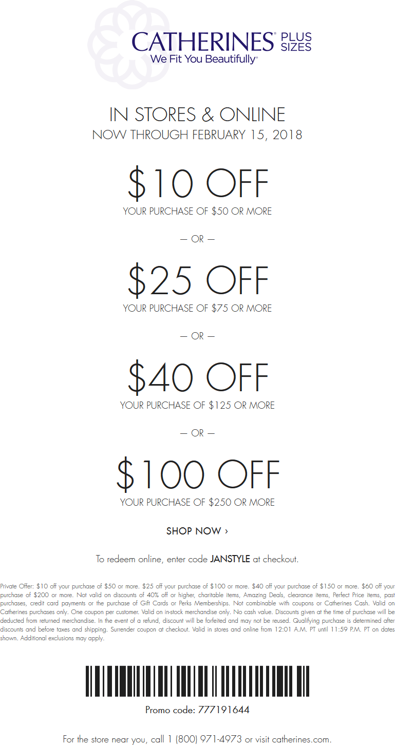 Catherines Coupon December 2018 $10 off $50 & more at Catherines, or online via promo code JANSTYLE