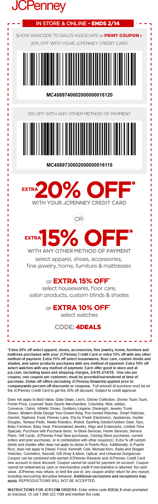 JCPenney.com Promo Coupon 15% off at JCPenney, or online via promo code 4DEALS