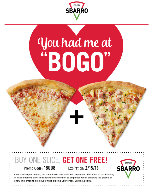 Sbarro Coupon August 2018 Second slice free at Sbarro pizza