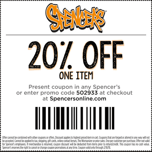 Spencers.com Promo Coupon 20% off a single item at Spencers, or online via promo code 502933