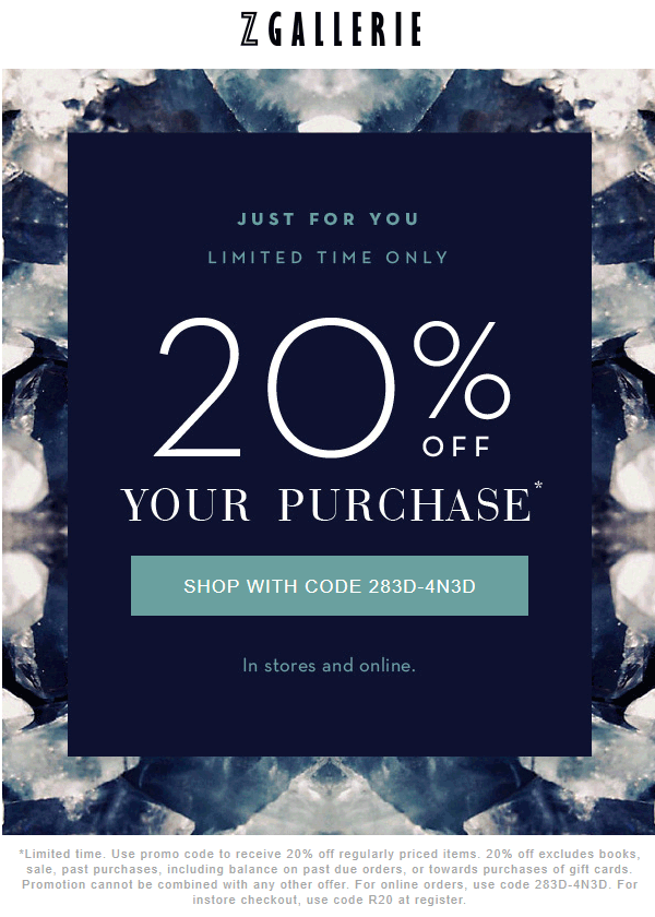 ZGallerie.com Promo Coupon 20% off at Z Gallerie, or online via promo code 283D-4N3D