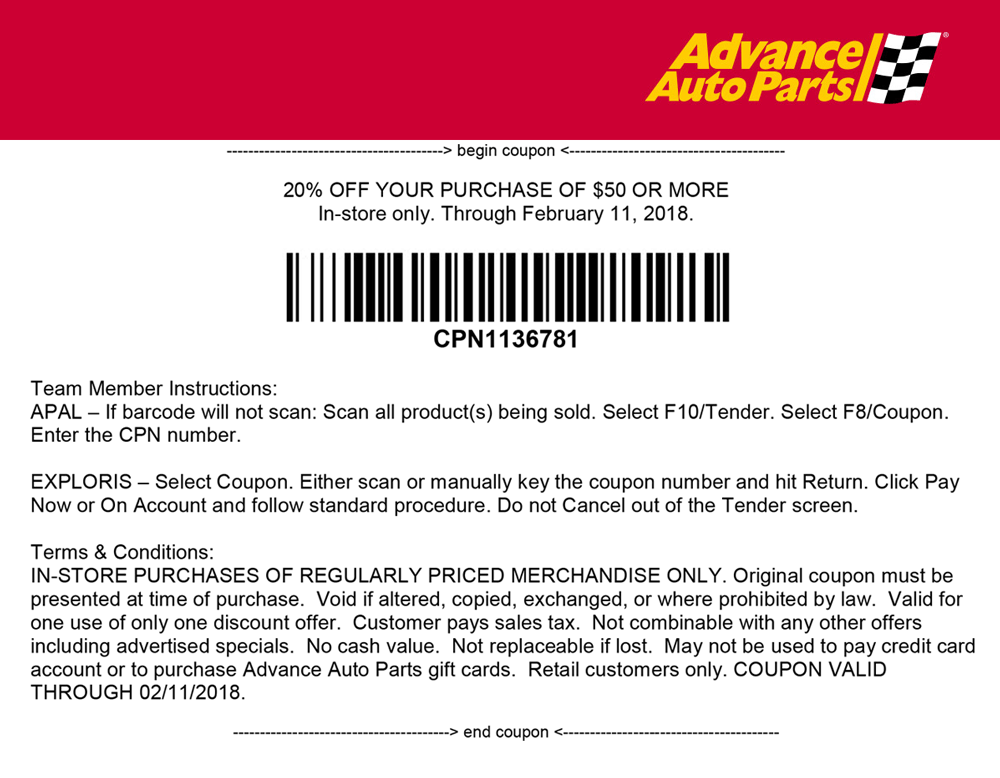 Advance Auto Parts Coupon July 2018 20% off $50 at Advance Auto Parts