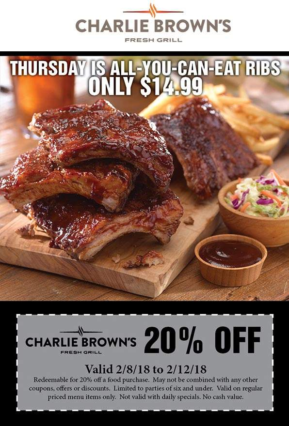 Charlie Browns Coupon March 2019 20% off at Charlie Browns fresh grill