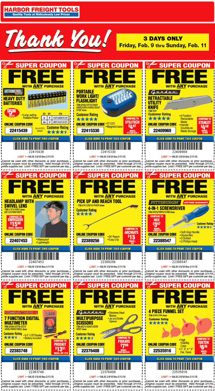 Harbor Freight Coupon March 2019 Various free items with any purchase at Harbor Freight Tools, ditto online