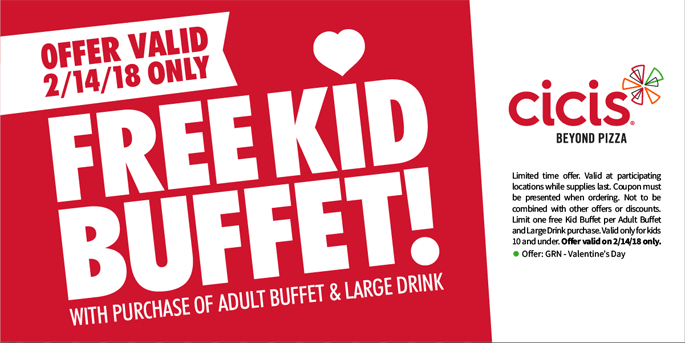 CiCisPizza.com Promo Coupon Free kid buffet with yours Wednesday at Cicis pizza