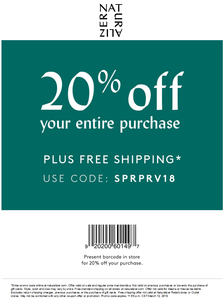 Naturalizer Coupon December 2018 20% off at Naturalizer, or online via promo code SPRPRV18