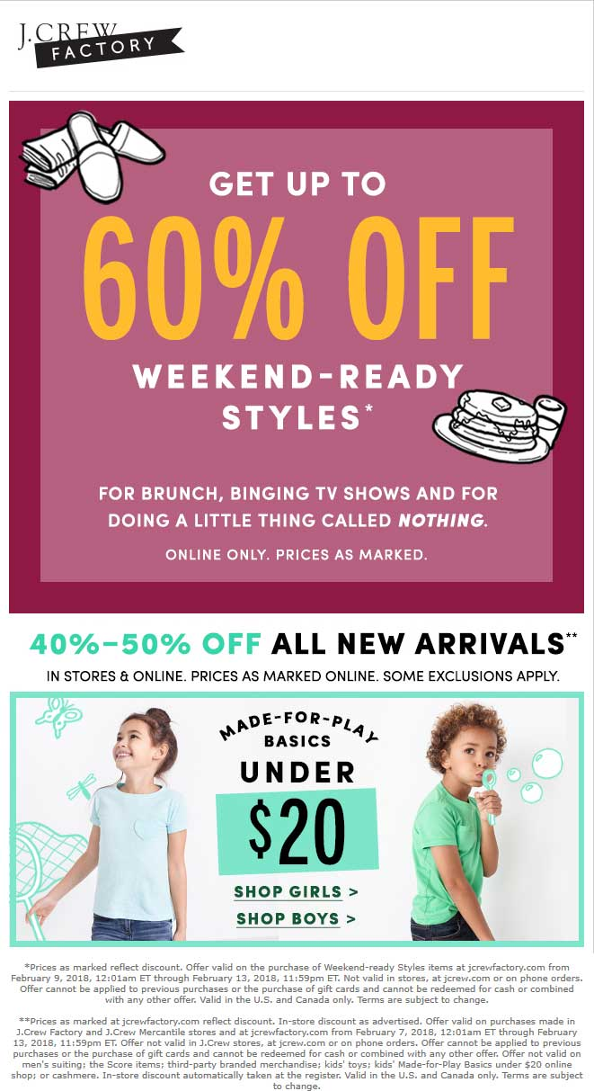 J.Crew Factory Coupon May 2018 40-50% off new arrivals at J.Crew Factory, ditto online
