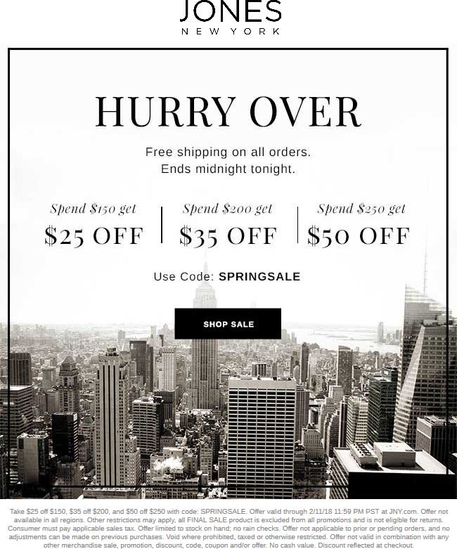 Jones New York Coupon October 2018 $25 off $150 & more online today at Jones New York via promo code SPRINGSALE