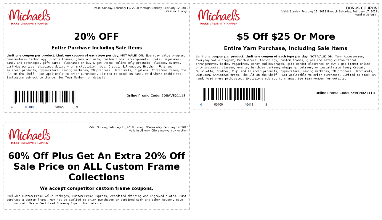 Michaels Coupon March 2019 20% off at Michaels, or online via promo code 20SAVE21118