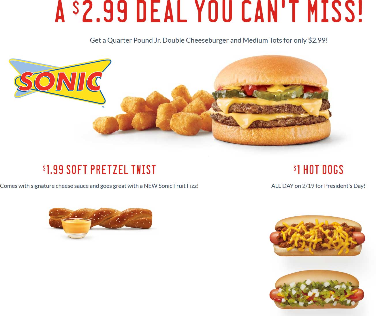 Sonic Drive-In Coupon February 2018 $1 hot dogs the 19th at Sonic Drive-In restaurants