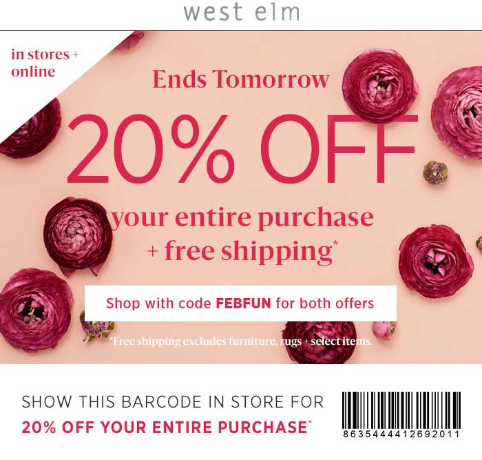 West Elm Coupon April 2018 20% off at West Elm, or online via promo code FEBFUN