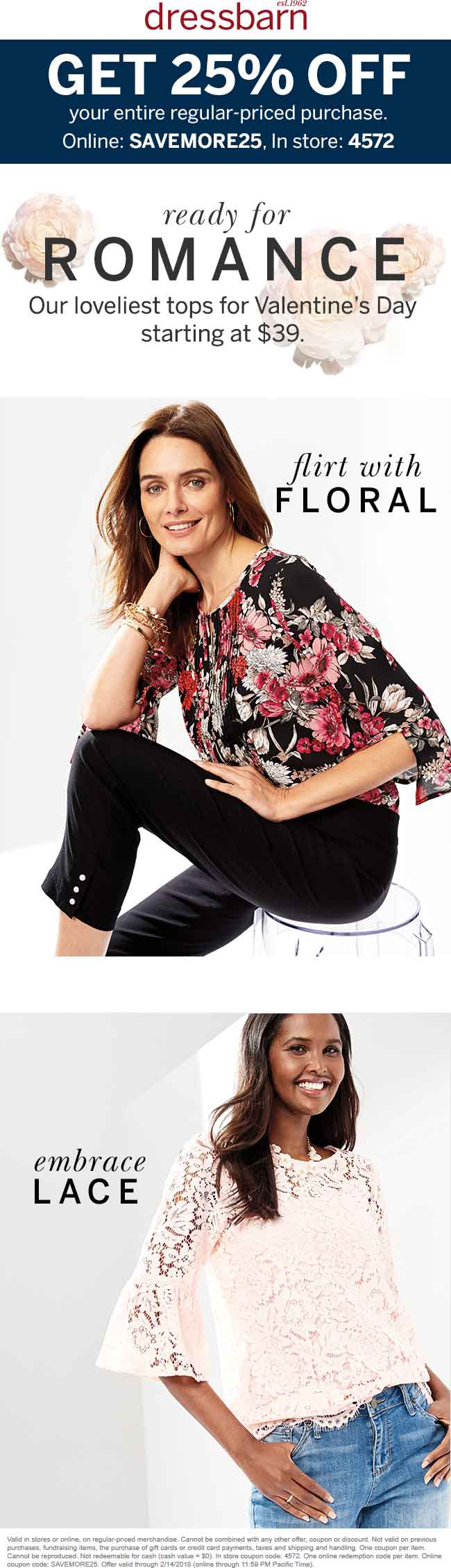 Dressbarn Coupon August 2018 25% off at Dressbarn, or online via promo code SAVEMORE25