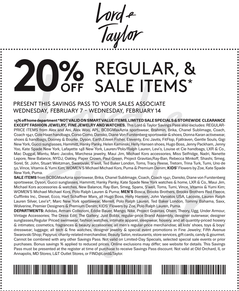 Lord & Taylor Coupon June 2018 20% off at Lord & Taylor, or online via promo code LOVE