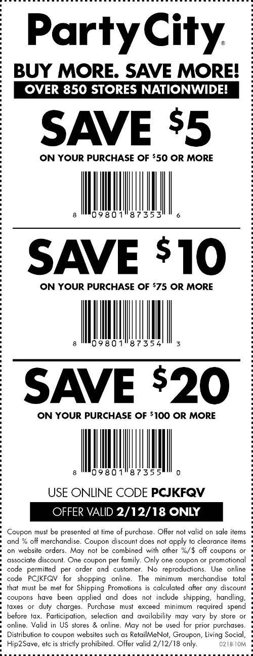 Party City Coupon February 2018 $5 off $50 & more today at Party City, or online via promo code PCJKFQV