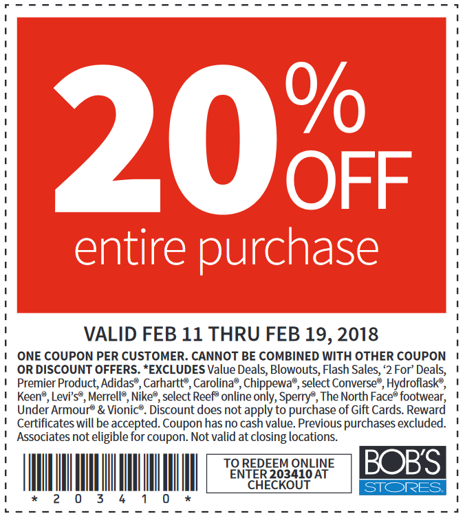 Bob's discount stores coupons in store 2019
