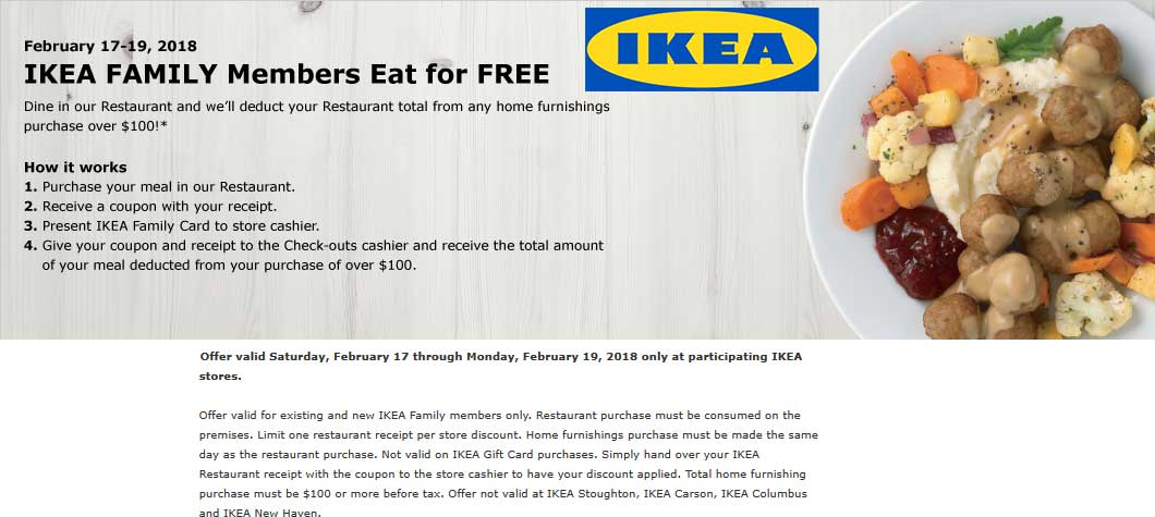 Ikea Coupons Free Food With 100 Spent At Ikea