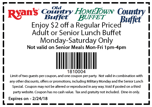 old country buffet coupons 20 off lunch buffet at ryans hometown rh thecouponsapp com country buffet coupons 2017 country buffet coupons colorado springs