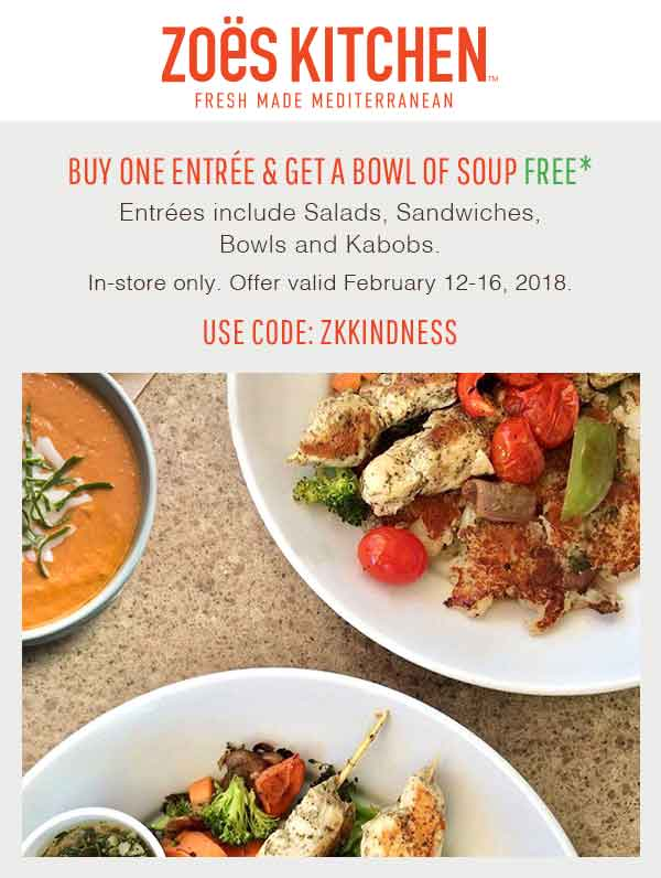 Zoes Kitchen Coupon October 2018 Free soup with your entree at Zoes Kitchen Mediterranean restaurants