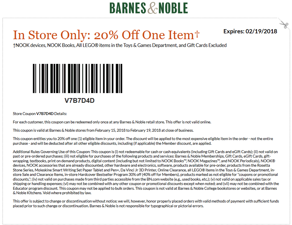 Barnes & Noble Coupon March 2019 20% off at Barnes & Noble