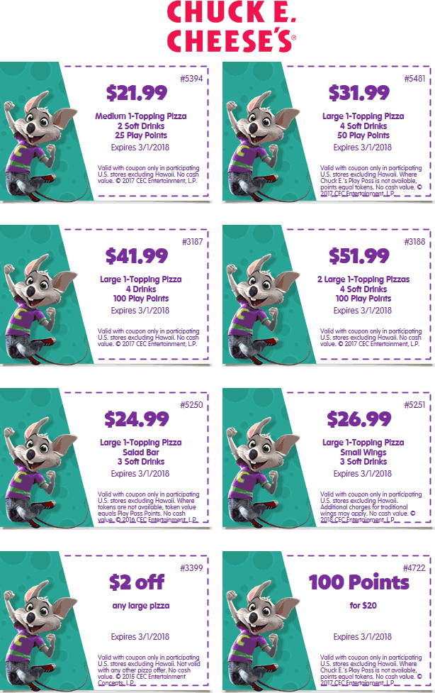 Chuck E. Cheese Coupon March 2019 100 points for $20 & more at Chuck E. Cheese pizza