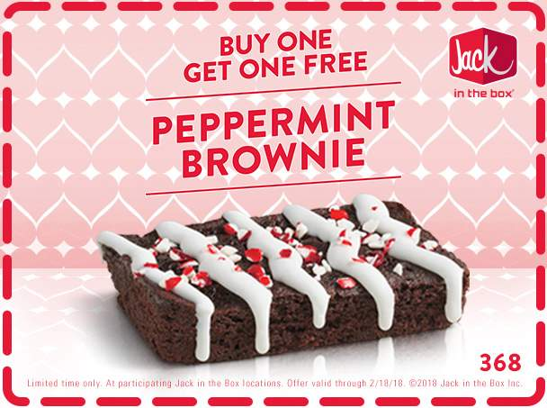 Jack in the Box Coupon October 2018 Second peppermint brownie free at Jack in the Box restaurants