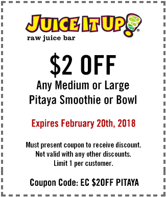 Juice It Up Coupon March 2019 $2 off Pitaya smoothie or bowl at Juice It Up