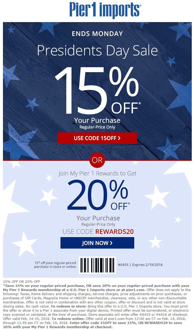 Pier 1 Coupon October 2018 15% off at Pier 1 Imports, or online via promo code 15OFF