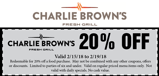 CharlieBrowns.com Promo Coupon 20% off at Charlie Browns fresh grill restaurants