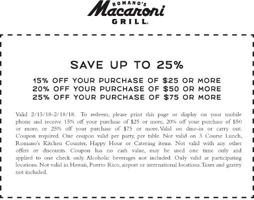 MacaroniGrill.com Promo Coupon 15-25% off $25+ at Macaroni Grill restaurants