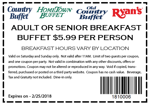 HometownBuffet.com Promo Coupon $6 breakfast at Ryans, HomeTown Buffet & Old Country Buffet
