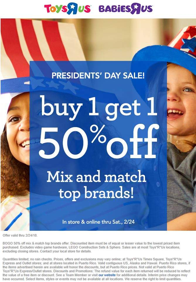 ToysRUs.com Promo Coupon Second item 50% off at Toys R Us, ditto online