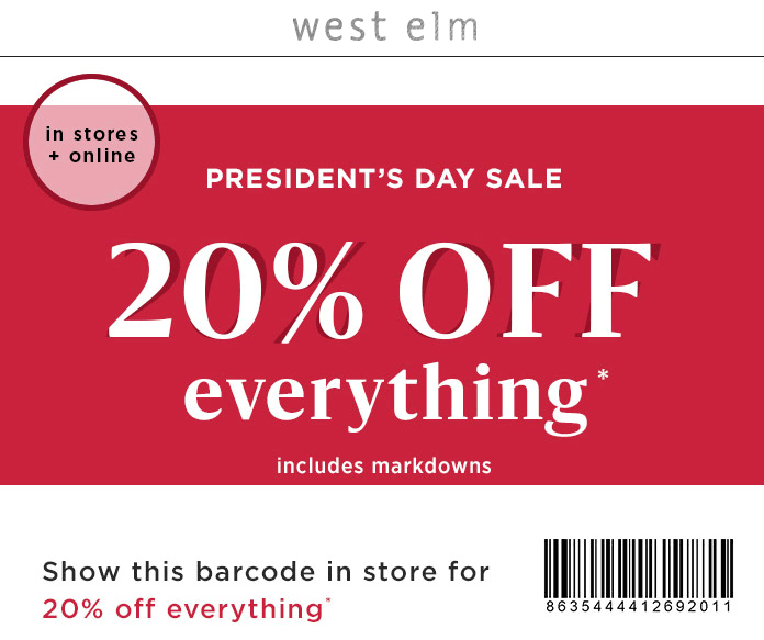 WestElm.com Promo Coupon 20% off everything at West Elm, or online via promo code HAPPYCART