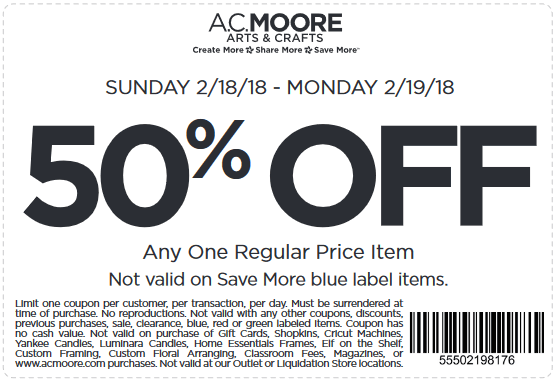 A.C.Moore.com Promo Coupon 50% off a single item today at A.C. Moore