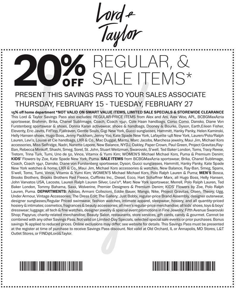 Lord&Taylor.com Promo Coupon 20% off at Lord & Taylor, or online via promo code PRESIDENT